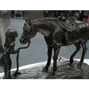 """""""First Love"""" Bronzed Cowgirl Horse Sculpture"""
